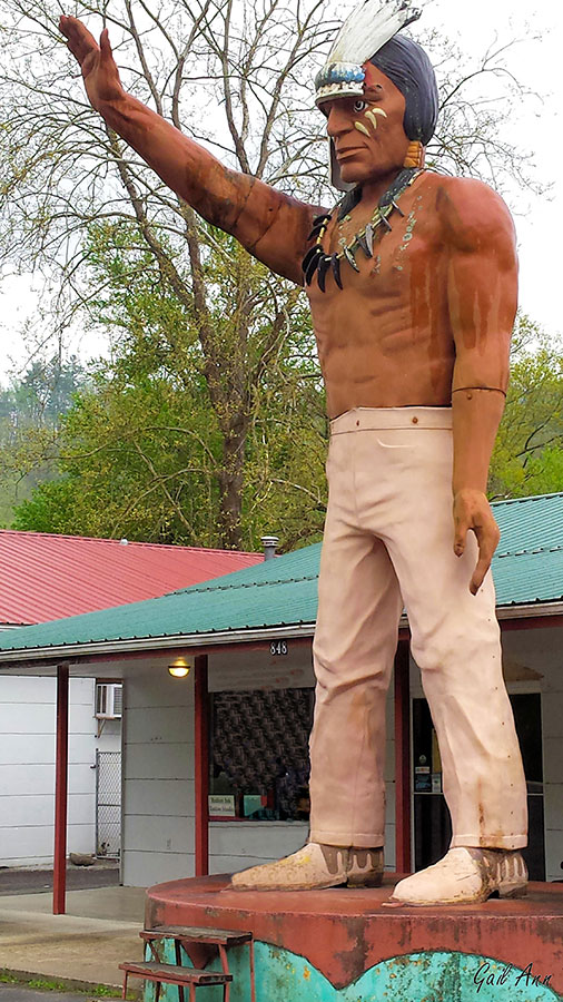 25 foot tall Indian sculpture cherokee