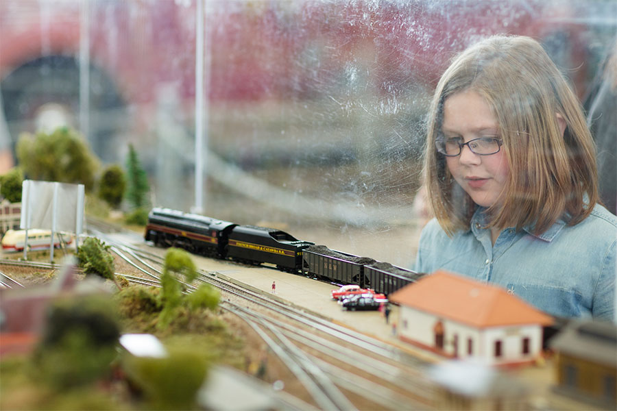 Girl Plexiglass Model Railroad