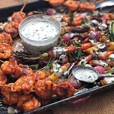 Roasted Veggies & Shrimp Skewers