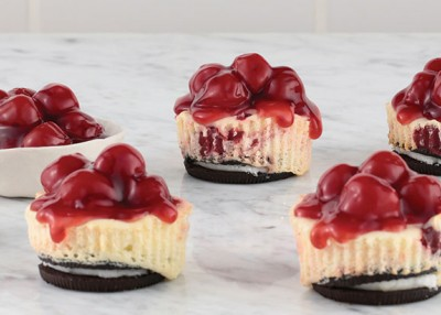 Mini Marbled Cherry Cheesecakes