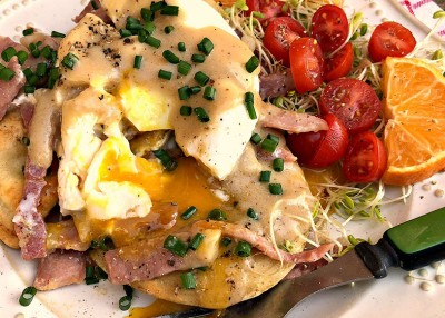 Country Ham and Pierogi Benedict