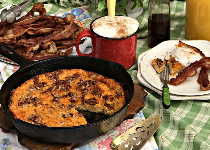 NC Sweet Potato, Pecan & Cheddar Dutch Baby