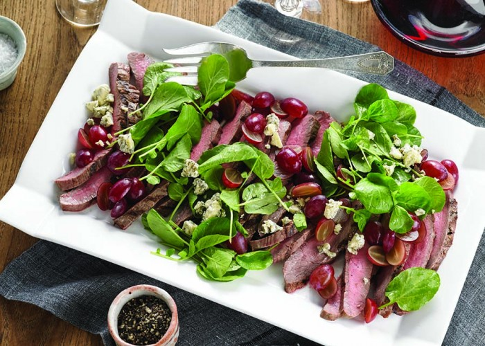 Grilled Flank Steak with Grapes and Blue Cheese