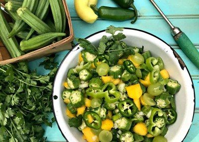 Green and Gold Okra Summer Salad