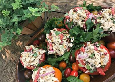 Italian Rotisserie Chicken Salad Stuffed Tomatoes