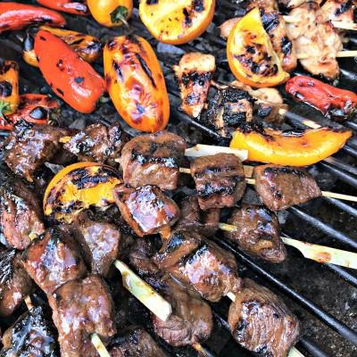 Orange Marmalade Steak & Chicken Kabobs