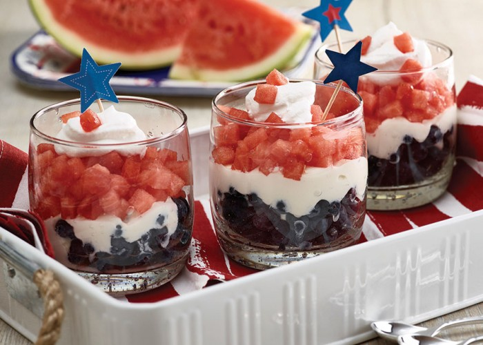 Red, White & Blue Watermelon Parfait