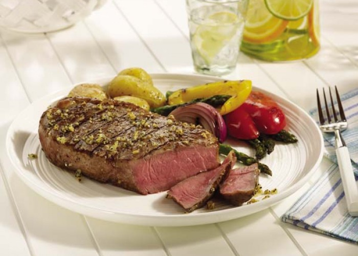 Peppercorn-Crusted Strip Steaks