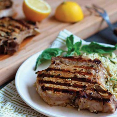 Grilled Lemon-Basil Pork Chops with Orzo