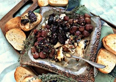 Roasted Grape and Cheese Crostini