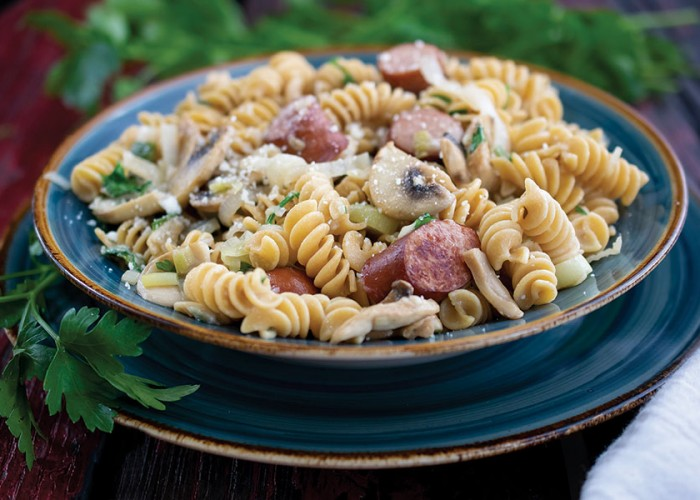 Rotini with Sausage and Mushrooms