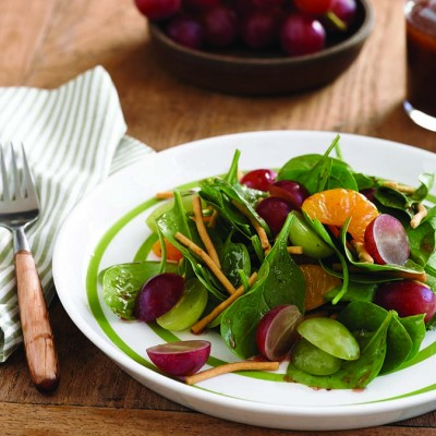 Grape and Spinach Salad with Raspberry Balsamic Dressing