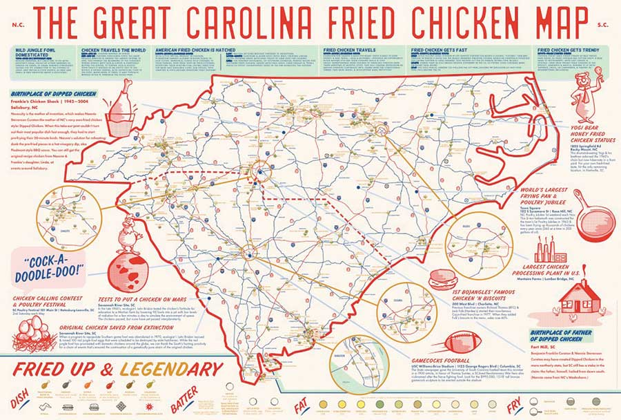 plan ahead with a road map highlighting 300 fried chicken spots