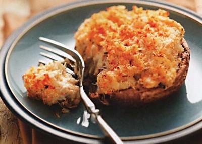 Crab Cake Stuffed Portobellos