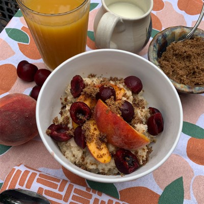 Delicious and Easy Cherry-Peach Oatmeal