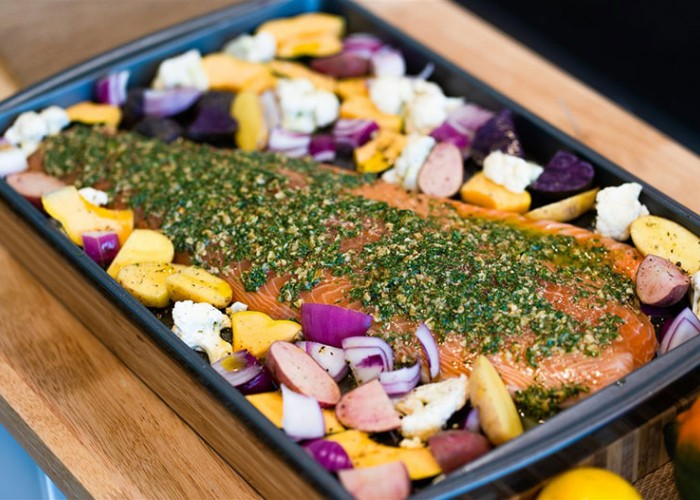 Pesto Salmon Sheet Pan