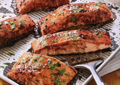 Salmon With Balsamic  Honey Glaze
