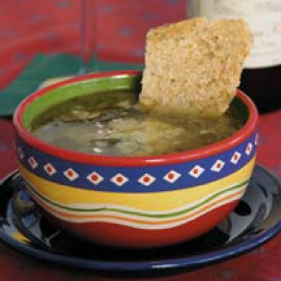 Spinach Soup with Chickpeas  and Potatoes