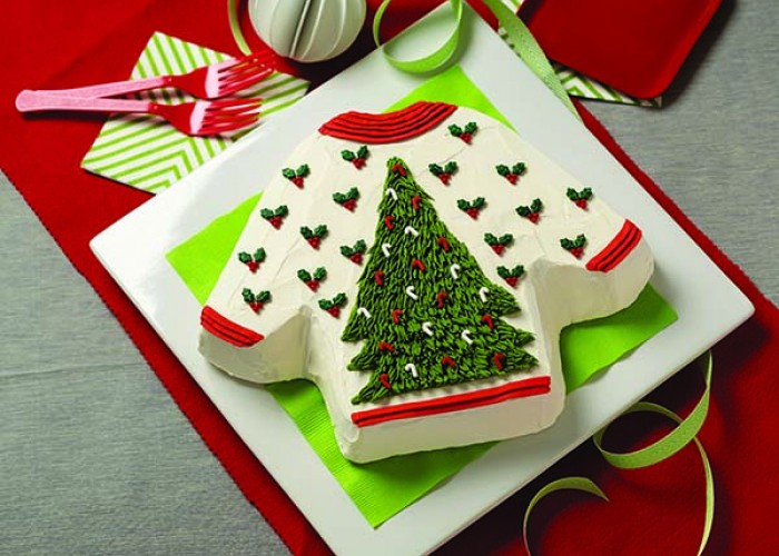 Eggnog Ugly Sweater Cake